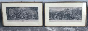 Pair of framed prints with battle scenes.I.Audran.France.