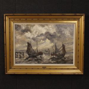 Painting signed by Emile Lammers seascape with boats