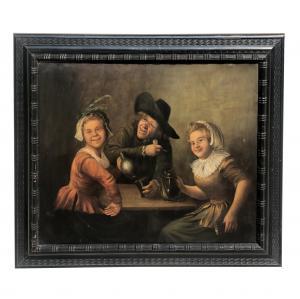Alte italienische Schulmalerei '800 Innenszene