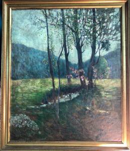 Pintura al óleo sobre lienzo con paisaje rural. Italia