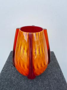 Submerged vase with bubbles included and 4 bands in relief.Murano
