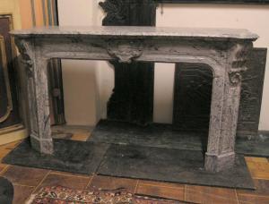 chm338  camino in marmo grigio fiorito, ep. '800, cm 170 x h 100