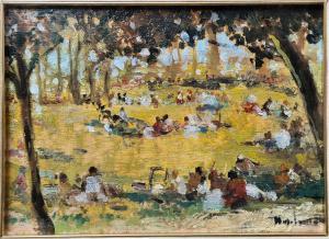 """卡洛·科西(Carlo Corsi),1879-1966年。 """"早餐在草地上""""。"""