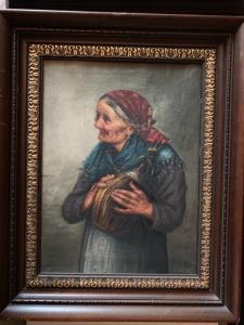 Pintura al óleo sobre lienzo que representa a una mujer con un matraz de vino