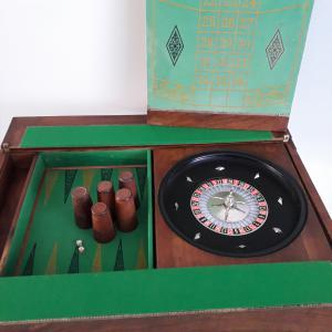Raro Tavolino da gioco con roulette e backgammon