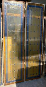 pan260 - coppia di vetrate, stile liberty, misura cm l 110 x h 212