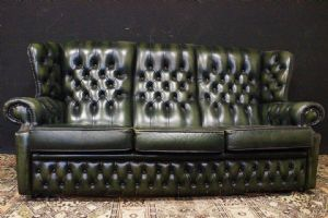 Chesterfield bergere three-seater sofa in chrome green leather