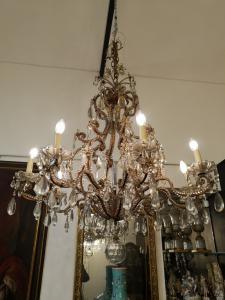 镀金金属和水晶吊灯,皮埃蒙特。