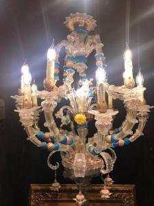 Candelabro de cesta, vidro Murano 13 chamas