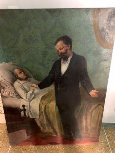 Dipinto su tela di grandi dimensioni raffigurante Cavour . 130 x 100