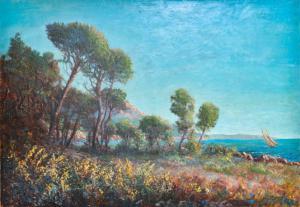 """""""普罗旺斯的码头""""-1900年代初布面油画,1900年代初布面油画"""