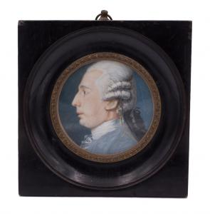 Miniatura su avorio : ritratto di gentiluomo - epoca primi 800