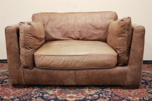 Sofá de 2 plazas en cuero inglés marrón claro