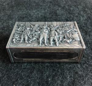 Caixa de fósforos em prata e madeira Holanda