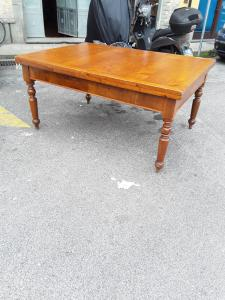 Extendable table in fir top under veneered veneer and walnut 165x120xallungato310 from the 1800s, Tuscan, all original, guaranteed by law