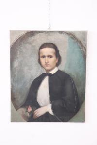 Retrato antigo da pintura do óleo da moça no século da lona XIX NEGÓCIO