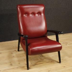 Italienischer Design-Sessel aus rotem Kunstleder