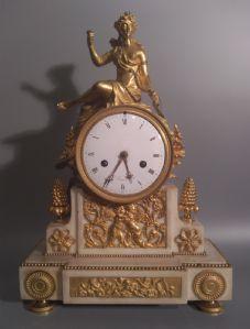 Orologio antico, pendola da camino, marmo, bronzo, firmato Le Jeune à Paris, Francia XVIII secolo