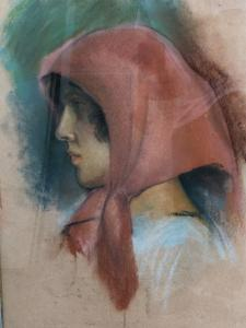 Pastellzeichnung einer weiblichen Figur. Signiert: Savelli.