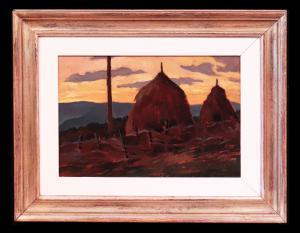 """油画:""""干草堆风景""""-托斯卡纳画派'900"""