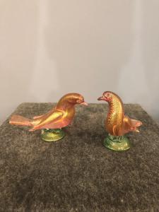 一对带有金夹杂物的玻璃鸟,Seguso.Murano制造。