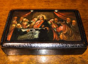 Papier macche box with painted scene: last supper. France.