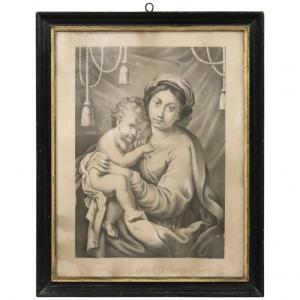 Ancient lithograph Madonna of the Help XIX century PRICE NEGOTIABLE