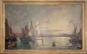 Marina with boats and fishermen