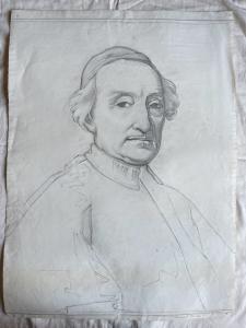 Bleistiftzeichnung auf Papier mit Darstellung von Kardinal Tanari (Arturo Pietra, Archiv Bologna.)