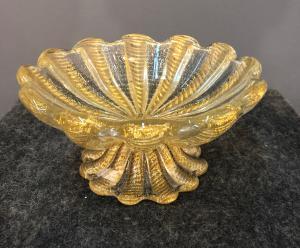 Vaso coppa in vetro cordonato oro.Manifattura Barovier e Toso.Murano.