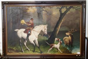Dipinto antico olio su tela raff. Scena di caccia all'Alce