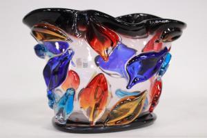 Vaso a colori in originale vetro di Murano firmato Enrico Cammozzo