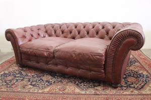 Divano 3 posti chesterfield chester inglese colore marrone / pelle / originale