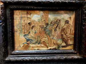 Scene bibliche dipinte e ricamate 1700