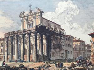"""Stampa Piranesi F. - """"Veduta del Tempio di Antonino e Fausina in Campo Vaccino"""""""