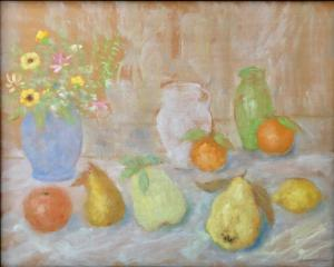 Semeghini Pio - Still life with fruit and vases