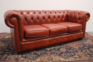 English chesterfield chesterfield sofa 3 seater orange / leather / leather