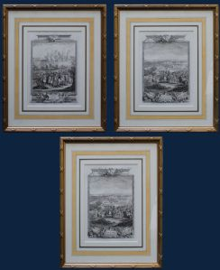 Eighteenth century, three incisions series depicting battles and sieges