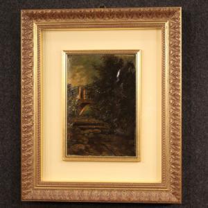 Pintura paisajista italiana óleo sobre cartón