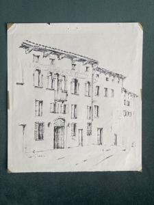 Seven (of thirteen) architectural drawings in ink. Signature: Pino di Pace