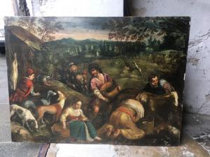 Splendido dipinto olio su tela raffigurante raffigurante l'autunno attribuito a Jacopo Bassano