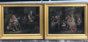 Pair of etchings with family scenes.William Ward from a painting by James Ward.England.