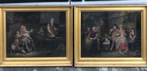 Coppia di incisioni acquatinte con scene famigliari.William Ward da un dipinto di James Ward.Inghilterra.