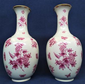 Coppia di grandi vasi in porcellana di Herend - Ungheria, anni '60