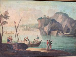 Delizioso paesaggio marino con figure, olio su tela, vicino a Paolo Anesi