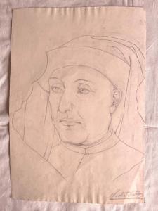 Dibujo a lápiz sobre papel, rostro de una joven renacentista Arturo Pietra, Bolonia.