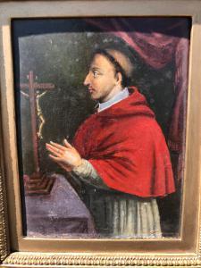 Piccolo dipinto olio su tavola raffigurante San Carlo Borromeo.