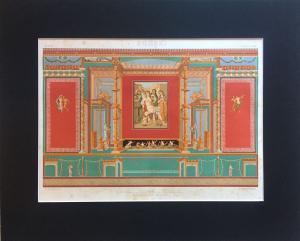Scene di grottesche pompeiane - Incisione a bulino con passepartout - Epoca: XIX sec. - Italia - Autore: Vincenzo Loria (1849-1939)