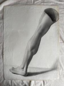 Bleistiftzeichnung auf Papier, die ein Bein darstellt.