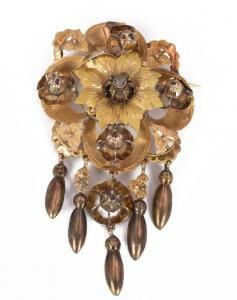 Goldbrosche mit Diamanten im Rosenschliff, spätes 19. Jahrhundert